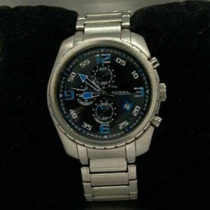 Fossil Men's Stainless Steel Black Dial Watch D646